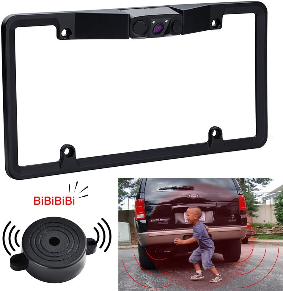 170 Viewing Angle Reverse Camera for Parking by Makerfire with 2 Radar Sensors BiBi Alarm License Plate Frame Camera NoDrill