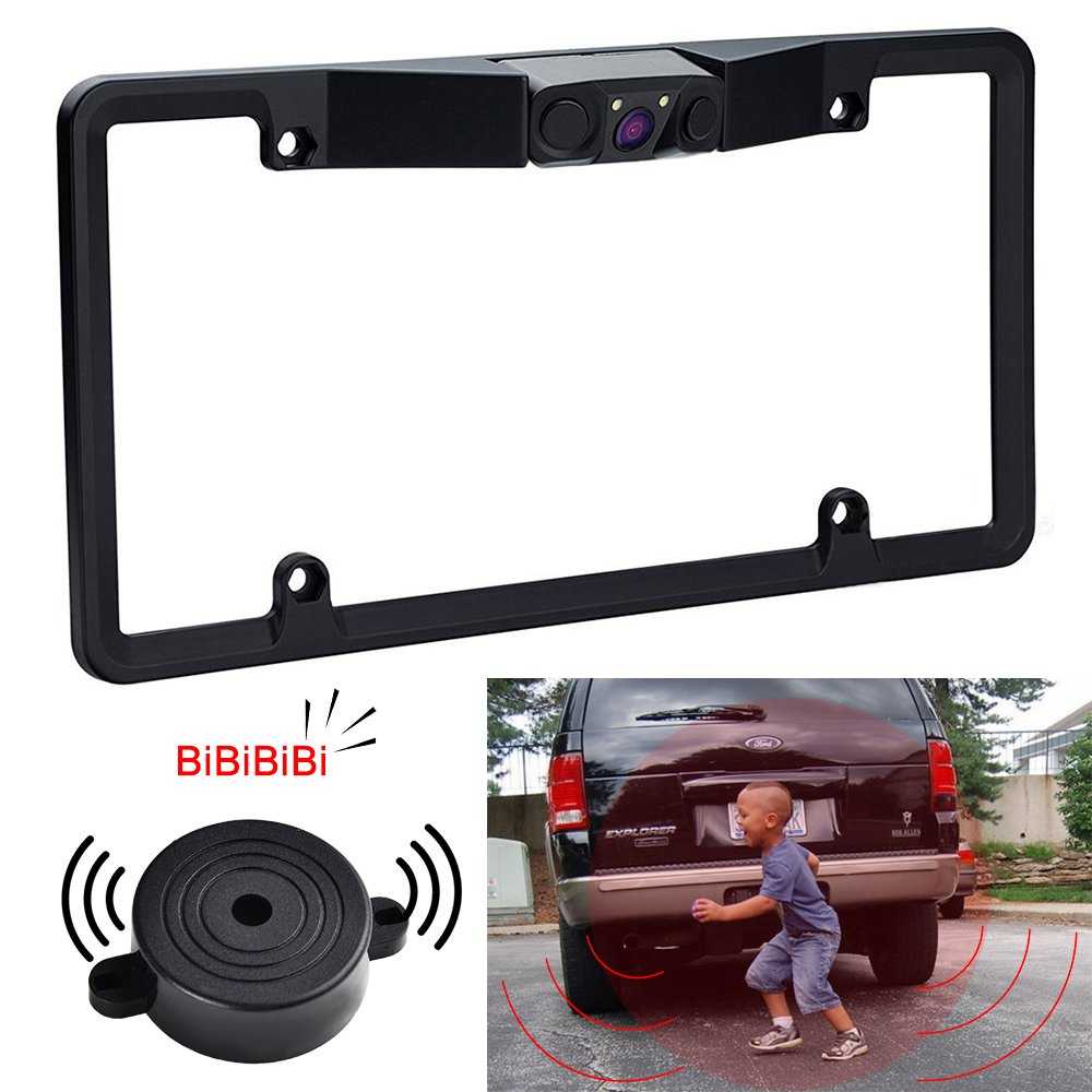 Car Backup Camera, No Drill License Plate with 2 Radar Sensors BiBi Alarm, 170 Viewing Angle Reverse Camera for Parking by RCRunning