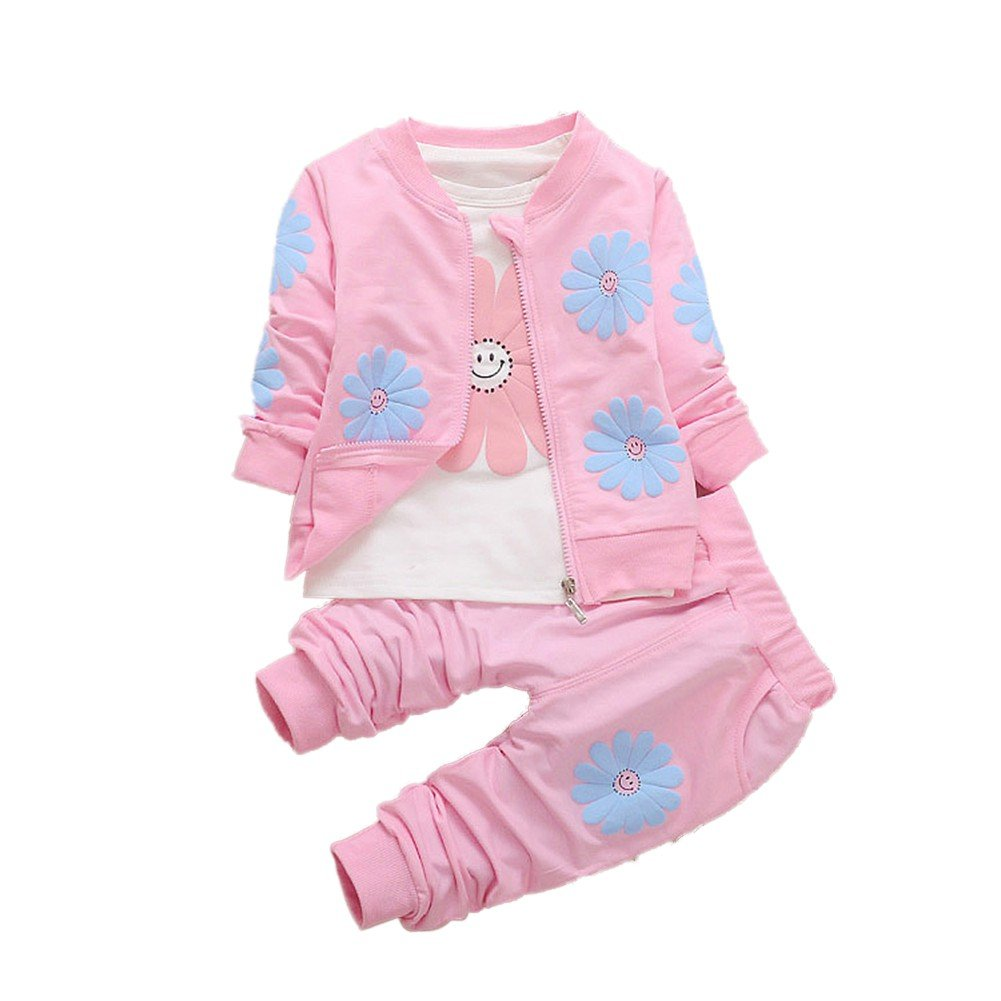 BOBORA Toddler Baby Girl Kids 3PCs Sunflowers Clothes Set Long Sleeve Shirt with Jacket Coat Outwear Trousers Pants Outfits