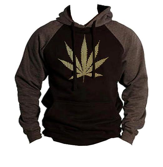 Men's Gold Foil Polka Dot Weed Leaf Black/Charcoal Raglan Baseball Hoodie Sweater 3X-Large Black