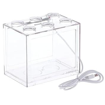 vorcool Acuario Juego completo pescado Platillos USB Mini acuario con LED Oficina Desktop Home Decor, transparente, 12 x 8 x 10,5 cm: Amazon.es: Hogar