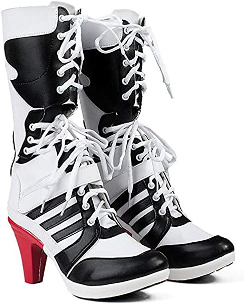 Chong Sheng Womens Cosplay Halloween White PU Pleather Shoes High Heel Boots 3.6 incehs