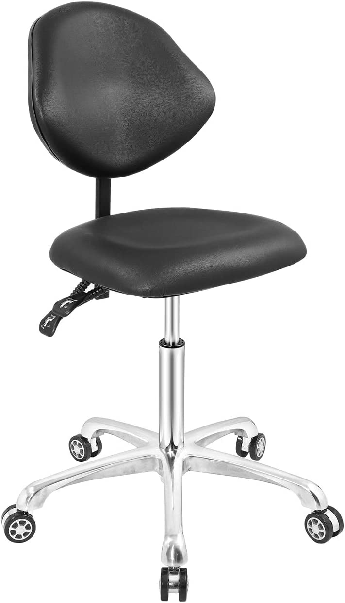 Rolling Stool Adjustable Drafting Office Chair with Tilt Backrest Hydraulic Swivel with Heavy Duty Metal Base for Office Home Counter Desk Chair(Black)