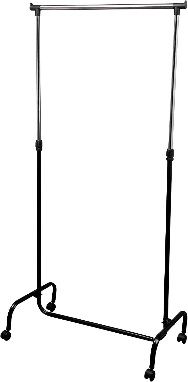 M Home EVE72 Perchero Metálico con Ruedas, Metal, Gris, 89.5 x 38 x 103-167 cm