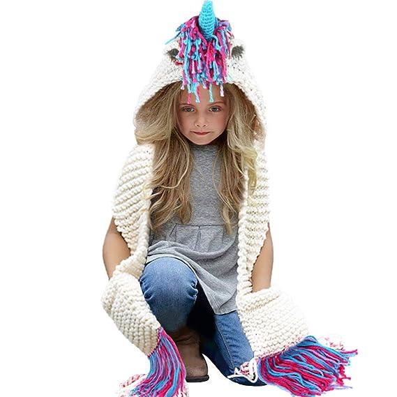 Tacobear Enfants Licorne Casquette Manteau Tricot Capuche Cagoule Enfants  Animal Chapeau Hiver Bonnet avec Écharpe Automne 7722c506c33
