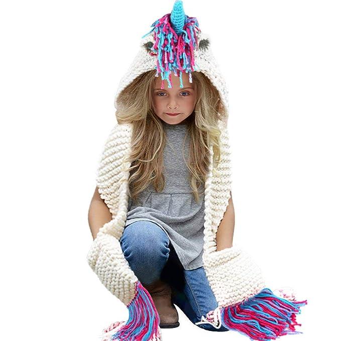 Tacobear Bambino Unicorno Cappelli Maglia Inverno Sciarpa Animale Cappelli  Scialli Cappello Unicorno Autunno Inverno Sciarpa Maglia con Cappello per  Ragazzi ... ec090d49a478
