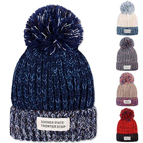 [YCHY Unisex Patch blending Sphere Knit Hat wool cap thick warm cap (Navy blue)] (Different Types Zombie Costumes)