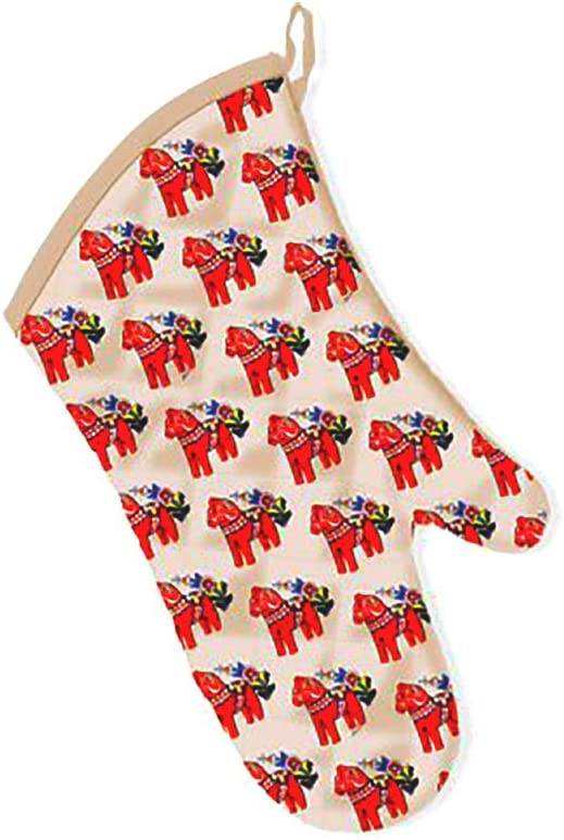 Swedish Present Popular Traditional Design Dala Horse Nordic Oven Mitts Gift (Mitts)