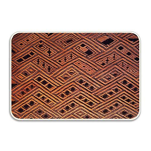 (Koperororo Raffia Kuba Pattern 4 Natural 16x24 Entry Way Outdoor Door Mat with Non Slip)