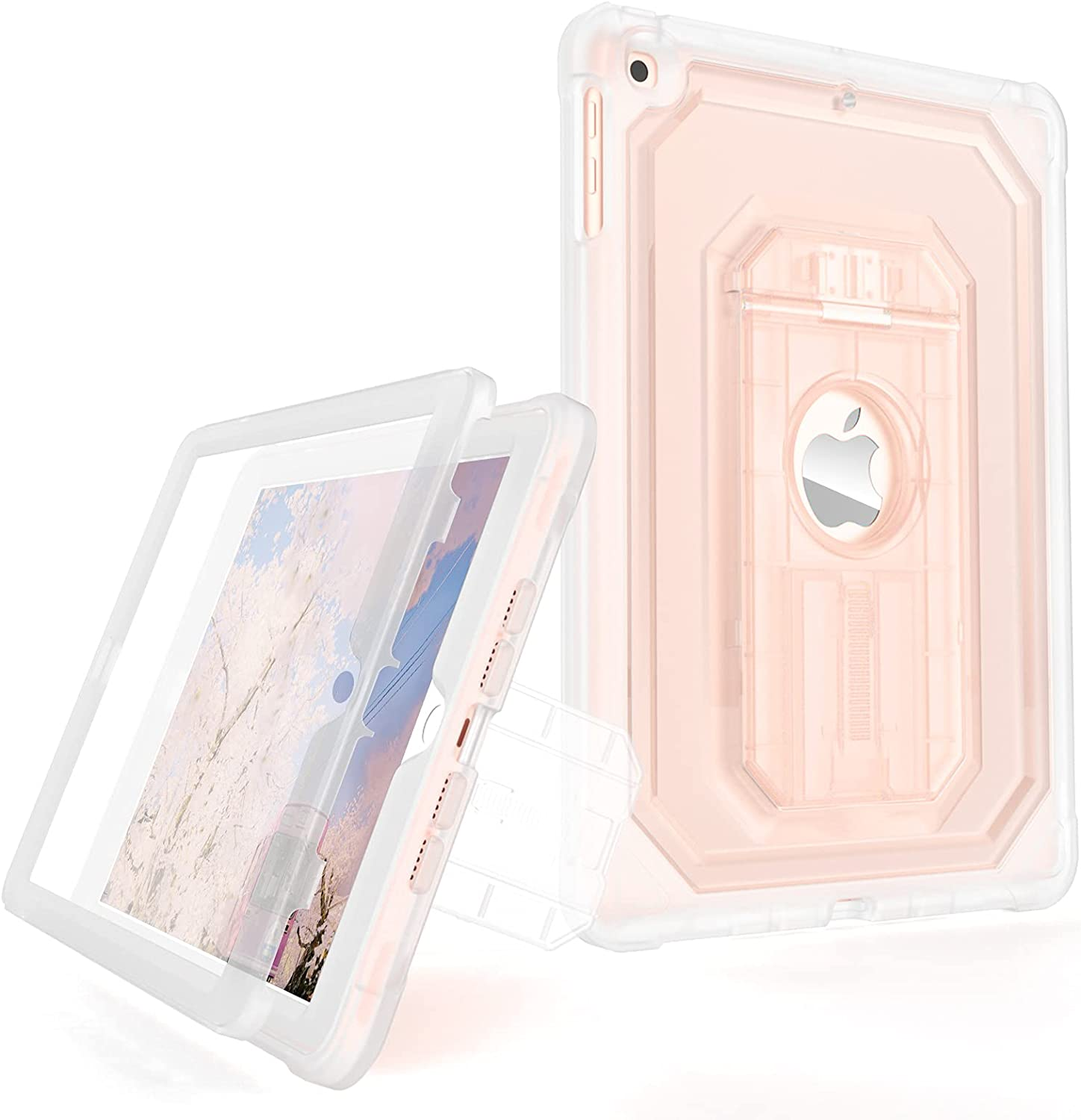 Cantis Clear Case for iPad 6th Generation / 5th Generation (9.7 Inch, 2018/2017 Model), [Built-in Screen Protector] 2-Layer Full-Body Shockproof Rugged Protective Case with Kickstand, Clear