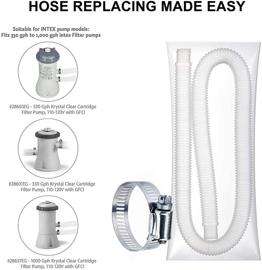 """Ecisi 1.25 Diameter Pool Pump Replacement Hose for Above Ground Pools Durable Filter Pump Hose Pool Hose with 4 Metal Clamps 59/"""" Long for Intex Pump Models #607#637"""