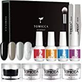 TOMICCA Dipping Powder Set With 4 Elegant Color, Top Coat Base Coat Activator Dark series