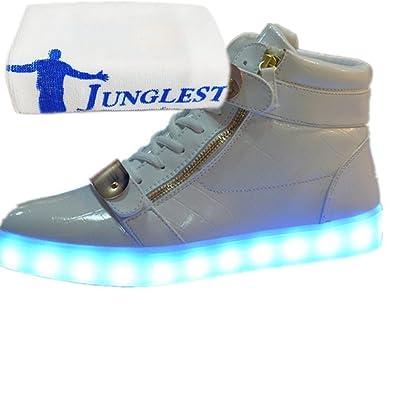 [Present:kleines Handtuch]Weiß EU 35, Laufschuhe für 7 Schuhe Kinder USB und Freizeitschuhe Mode Wechseln Farbe JUNGLEST® Outdoorschuhe Damen Herren Leuchtend weise auflade