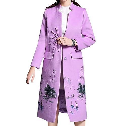 Vestido Retro Literaria De Las Mujeres Abrigo Largo De Lana Estilo Chino,Purple-L