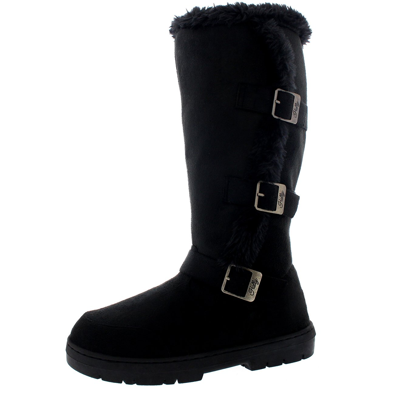 Holly Womens Slouch Snow Winter Waterproof Long Zip Knee High Boots - Black - US8/EU39 - BA0470
