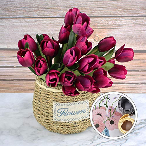 Snail Garden 3 Pack Tulip Silk 27 Pcs Artificial Flowers Artificial Bouquet with Stain Ribbon for Home Room Office Wedding Party Decor (Purple)