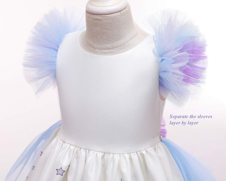 JiaDuo Girls Princess Party Dress, Rainbow Tutu Train & Headband 7