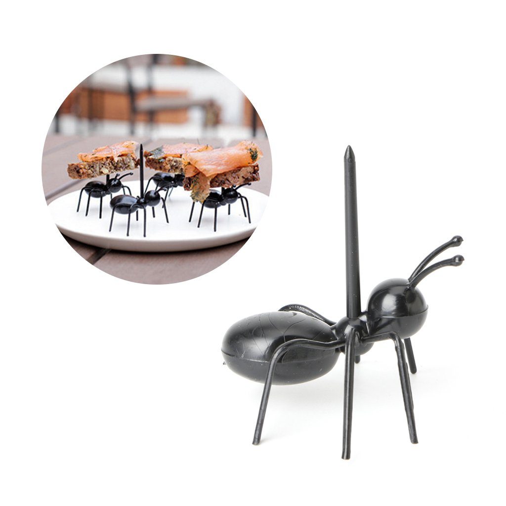 Cicitop Creative Mini Ant Plastic Food Sticks, Suitable for Picking Sandwich, Fruit, Snacks, Dessert on the Occasion of Celebration, 12Pcs