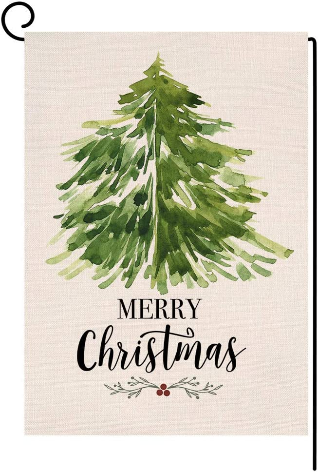 Blkwht Christmas Garden Flag 12 5 X 18 Vertical Double Sided Winter Green Tree Outdoor Decorations Burlap Small Yard Flag S1002 Garden Outdoor Amazon Com