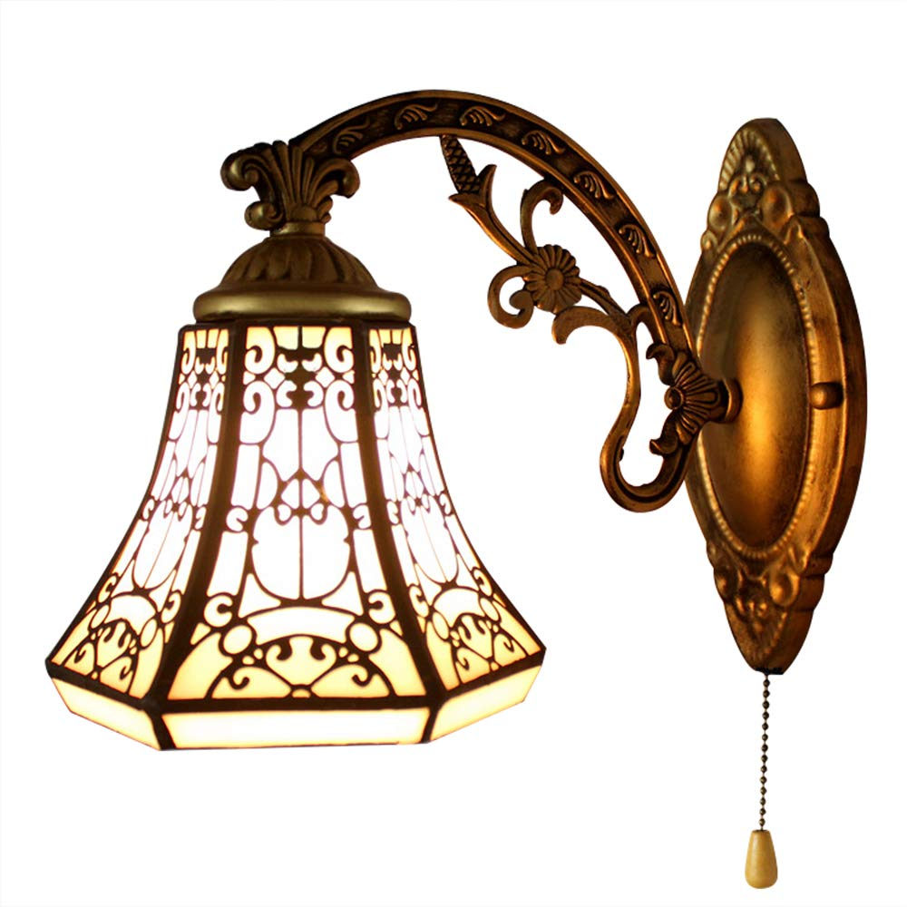 BAYCHEER 275527SW Tiffany Style Glass Shade Vintage Wall Sconce Lamp Fixture One Light for Kitchen Island Dining Room or Living Room, with Switch