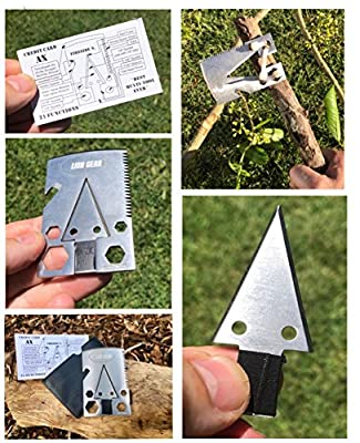 Compact Survival Multi Tool Axe Card by Lion Gear - Stainless Steel, Multifunctional Survival Ax Multitool with Saw, Bottle Opener, Cutter, and Wrench - Survivor Emergency Kit For Camping, Hunting