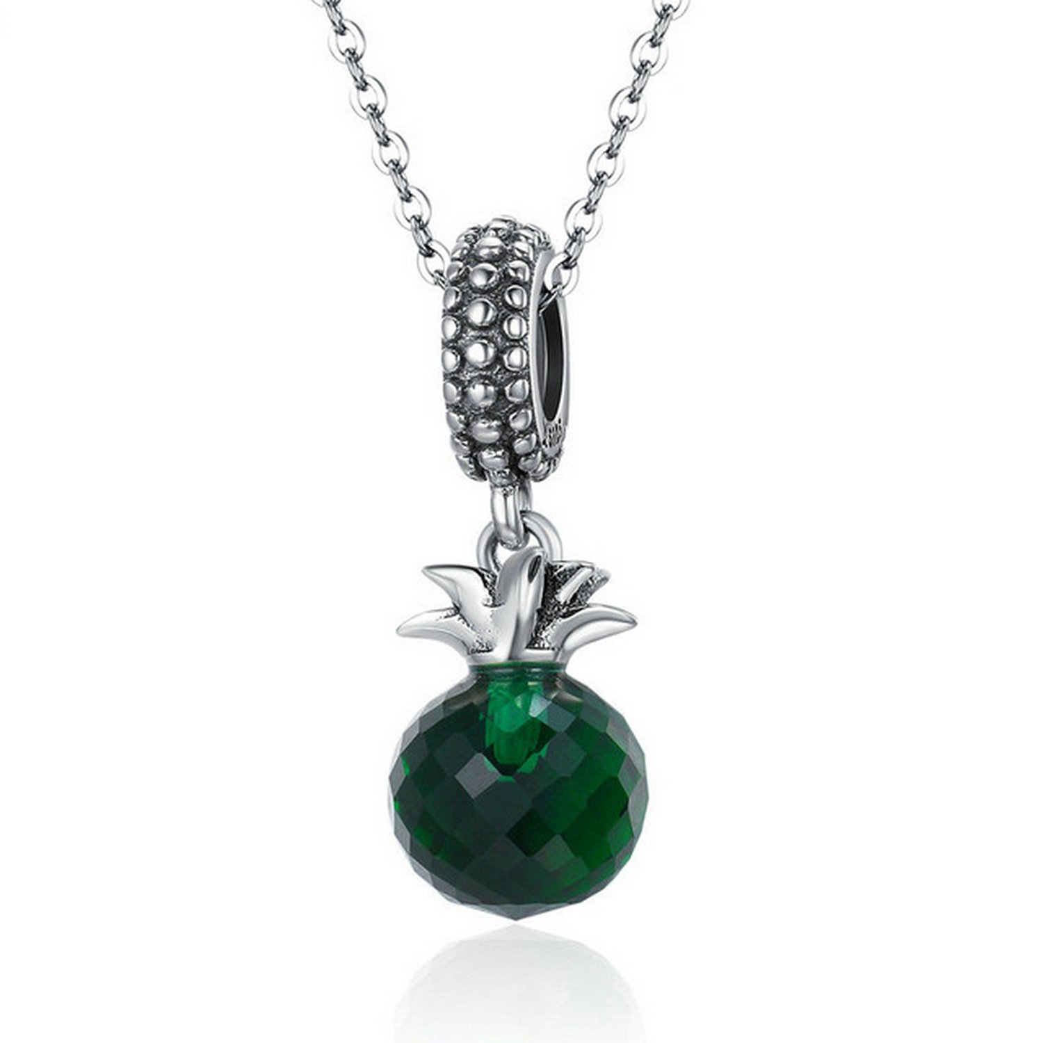 MMC Pineapple Green Crystal Silver Pendants Necklaces