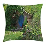 Queen Area Hobbits Fantasy Hobbit Land House in Magical Overhill Woods Movie Scene New Zealand Square Throw Pillow Covers Cushion Case for Sofa Bedroom Car 18x18 Inch, Green Brown Blue