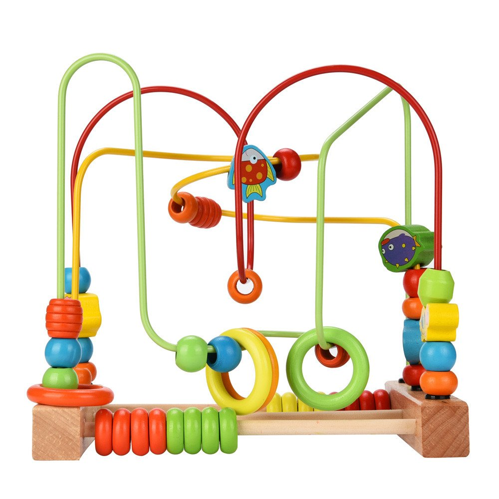 Binory Beads Maze Roller Coaster Building Blocks Wooden Toys,Colorful Counting Beads for Baby to Count,Childrens Wooden Puzzle Early Educational Circle Toy for Toddlers