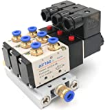 Baomain Pneumatic Solenoid Valve 4V210-08 DC 24V 2 Position 5 Way Triple Mufflers Quick