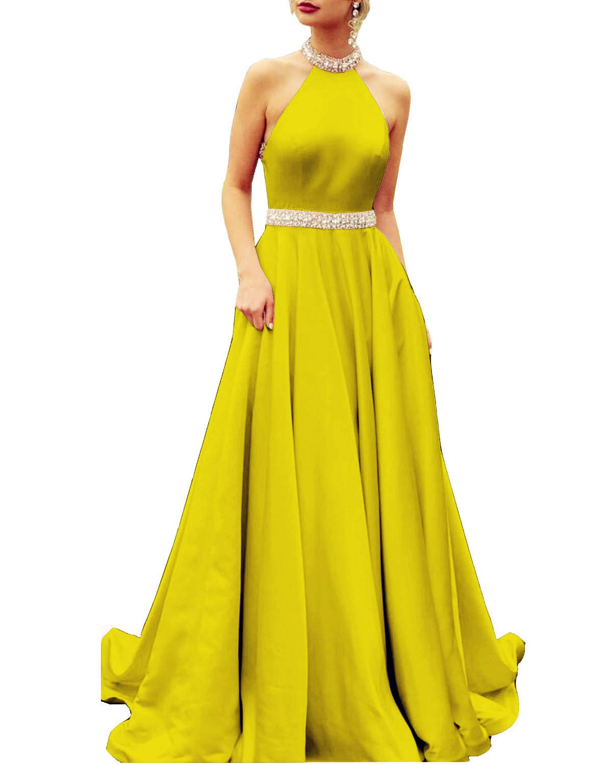 Ever-Beauty Womens Beaded Halter Prom Dress with Pockets Long Sleeveless  Satin Evening Formal Gown Yellow Plus Size 18