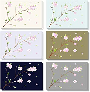 120-Pack - All Occasion Assorted Blank Vintage Note Cards Greeting Cards Bulk Box Set - 6 Different Japanese Cherry Blossom Designs, Envelopes Included - 4 x 6 Inches