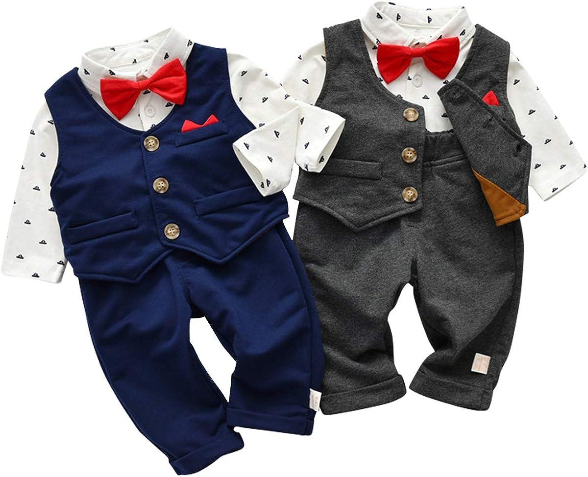 Lemohome Baby Boy Waistcoat Gentleman Suit Long Sleeve 3 Pieces Wedding Outfits