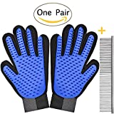 Awaiymi Pet Grooming Glove Gentle Deshedding Brush [2018 New Version] Pet Mitt - Massage Gloves with Enhanced Five Finger Design Perfect for Cats Dogs Horses with Long or Short Fur (Blue - 1 Pair)
