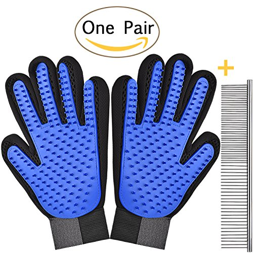 Awaiymi Pet Grooming Glove Gentle Deshedding Brush [2018 New Version] Pet Mitt - Massage Gloves with Enhanced Five Finger Design Perfect for Cats Dogs Horses with Long or Short Fur (Blue,1 Pair)