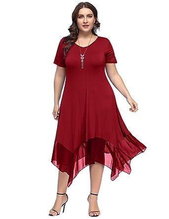 2e34c35d09d Hanna Nikole Women Plus Size Summer Irregular Hem Chiffon Patchwork Loose  Dress Size 0X Wine