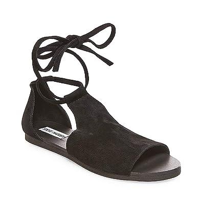 461704b1989a Steve Madden Womens Elaina Suede Lace-Up Flat Sandals Black 5 Medium (B