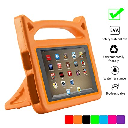 SNOW Fire 7 2015 Case,Fire 7 Case 2017,Kids Shock Proof Protective Cover  Case (Compatible 5th Generation 2015 / 7th Generation 2017) (Orange)