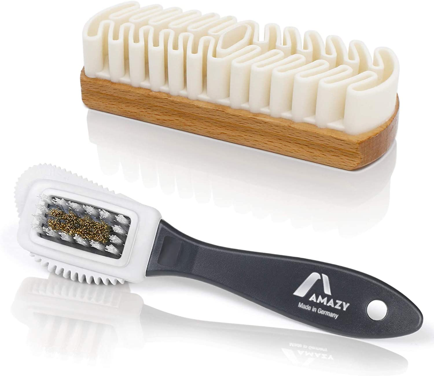 - Cleans Suede Nubuck and Verlour Set of 2 Amazy Leather Shoe Brush Ruffle