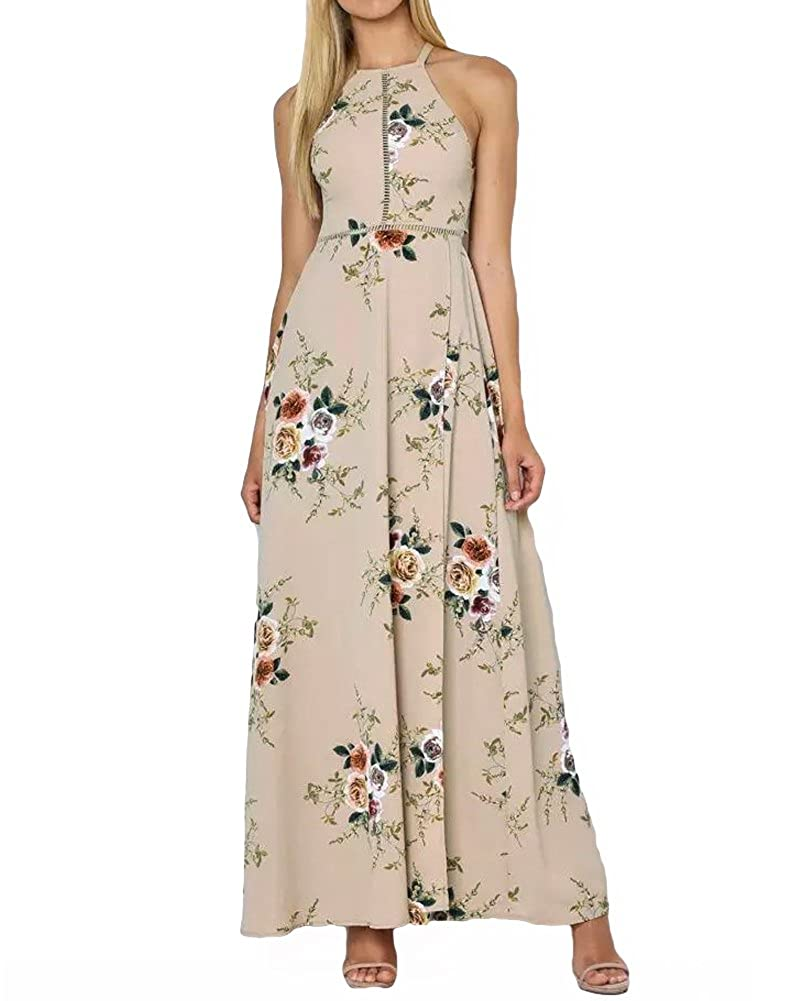 Khaki Romacci Women's Sleeveless Halter Neck Maxi Dress Vintage Floral Print Backless Beach Long Dresses S5XL,bluee Black