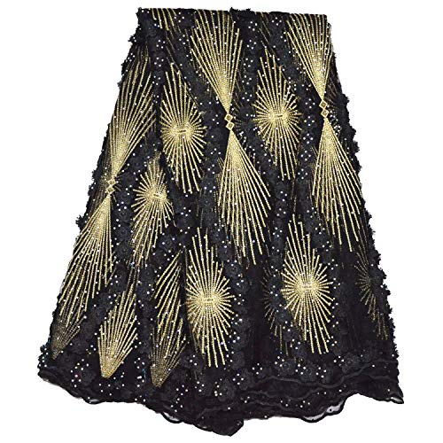 LaceQin 5 Yards African Lace Fabric Nigerian French Lace Embroidery Lace Fabric Three-Dimensional Embroidery Rhinestone Beaded Lace Fabric Wedding Party Dress (Black)