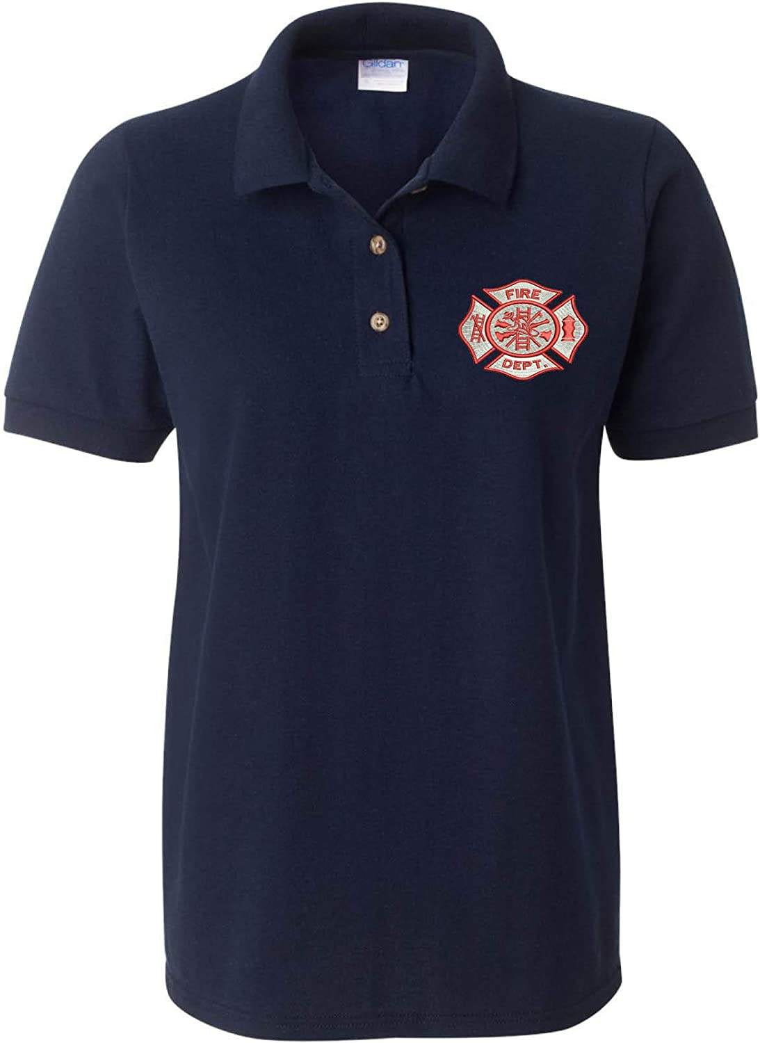 XL, Navy Blue Allntrends Womens Polo T Shirt Fire Department Embroidered Firefighter Top