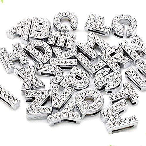 130pcs A-Z Full Rhinestones 8mm Slide Alphabet Letters for 8mm Slide Wristbands/Bracelets,Jewelry Making - Alphabet Letter Rhinestone