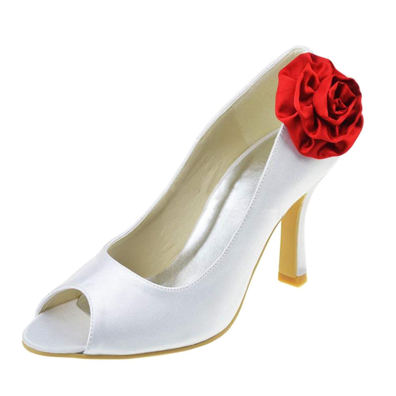 Qiusa Blaumen-Mode-Satin-Brauthochzeits-Sandelholze der Mädchen Frauen (Farbe   Ivory-7.5cm Heel Größe   6.5 UK)