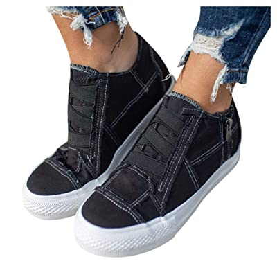 Haomigol Women Canvas Slip On Sneakers Casual Shoes Comfortable Flat Loafers Zipper Anti-Slip Work Walkings Shoes Sandals at Women's Clothing store