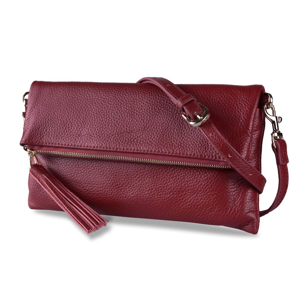 Befen Women's Leather Wristlet Clutch Phone Wallet Small Crossbody Purses and Hangbag with Card Slots (Large Crossbody Burgundy)