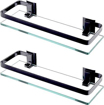 ENCOFT Estanteria Baño Aluminio Templado Estanteria Cristal Rectangular 8mm Extra Gruesa Montado en la Pared Plateado (2, Negro)