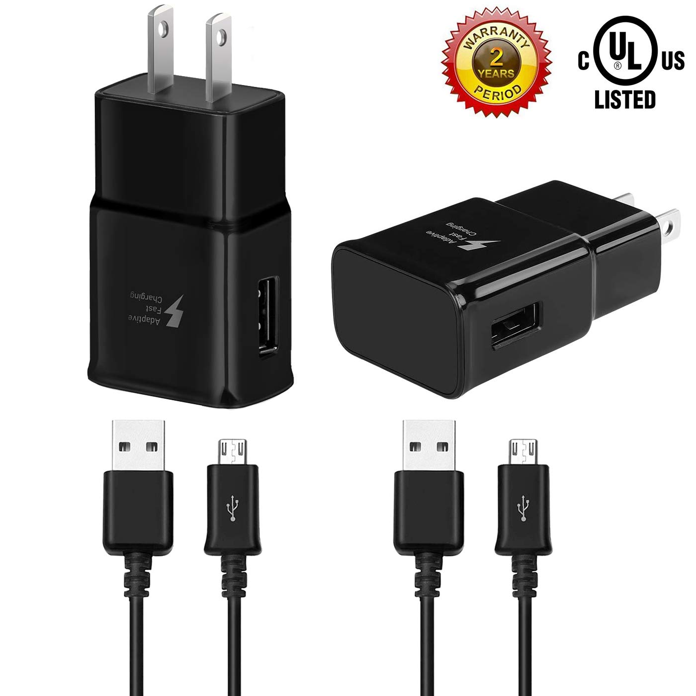 Adaptive Fast Charging Wall Charger Compatible with Samsung Galaxy S7/S7 Edge/S6/Note5/4 /S3 with 5-Feet Micro USB Cable Kit (2 Pack Black 5ft)