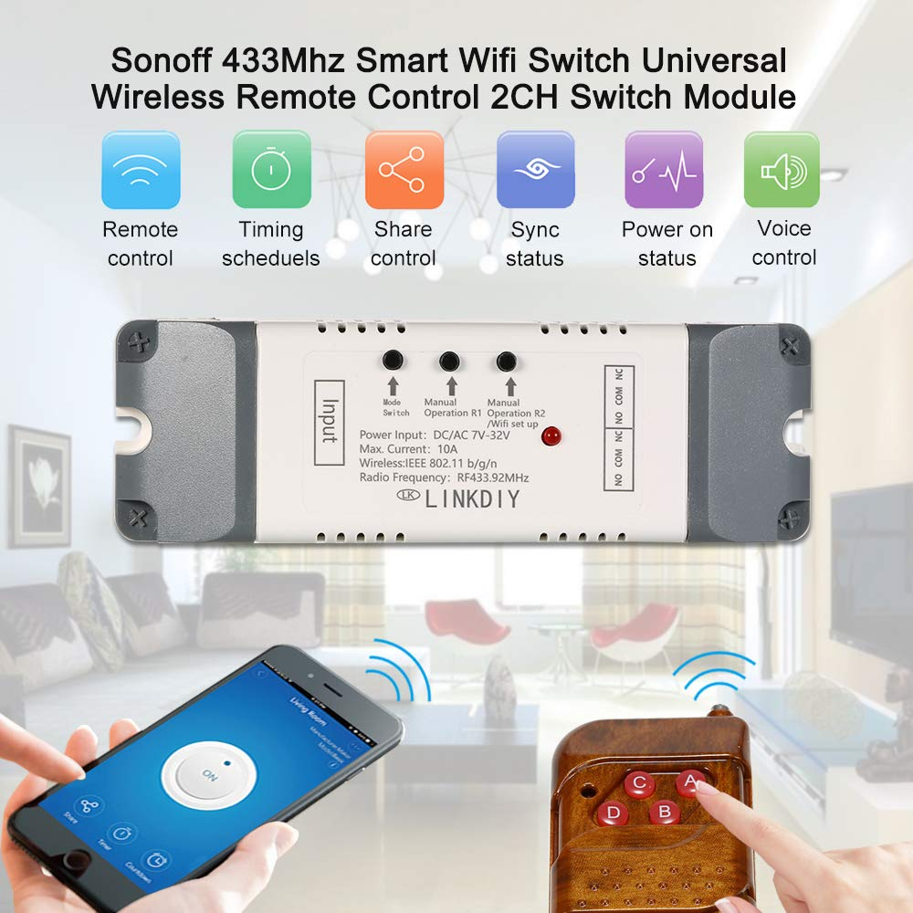 Kkmoon Sonoff 433mhz Smart Wifi Switch Universal Projectsprogramming And Many More Remote Control Wireless Module 2ch Dc Ac7 32v Timer Phone App With 4 Keys