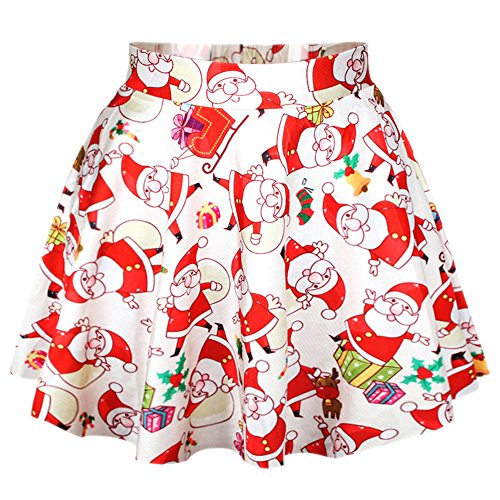 RAISEVERN Women's Christmas Santa Printed Stretch Waist Flared Mini Skirt