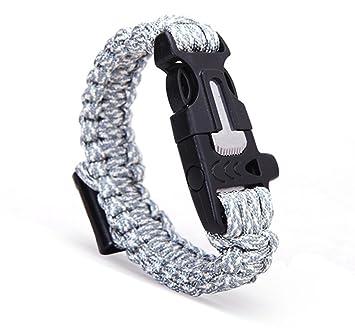 Cuerda de seguridad táctica pulsera con arrancador de fuego, barra de magnesio, silbato, cuerda de Rough Wilderness magnesita Flint abridor, hombre, ...